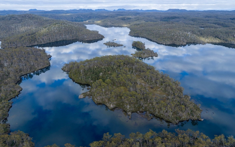 Pristine Lake Malbena in Tasmania's World Heritage listed wilderness..