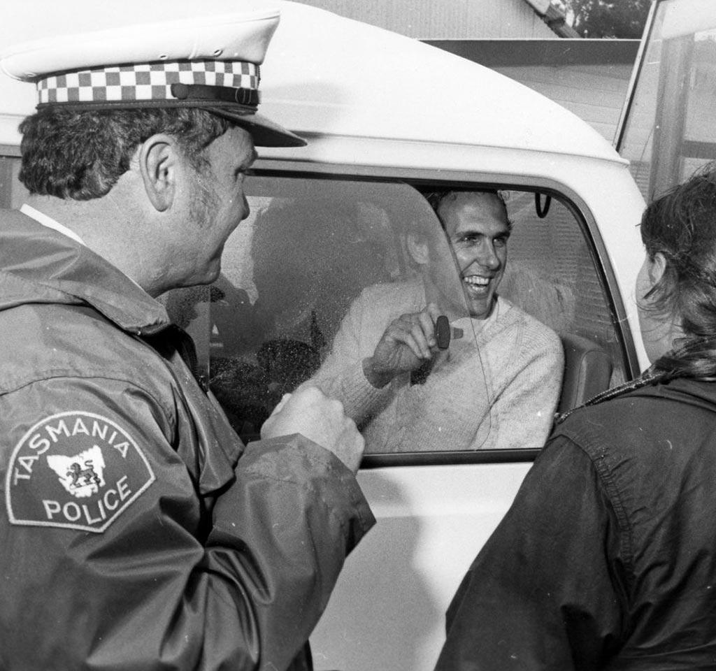 Dr Bob Brown being arrested during the Franklin River Blockade