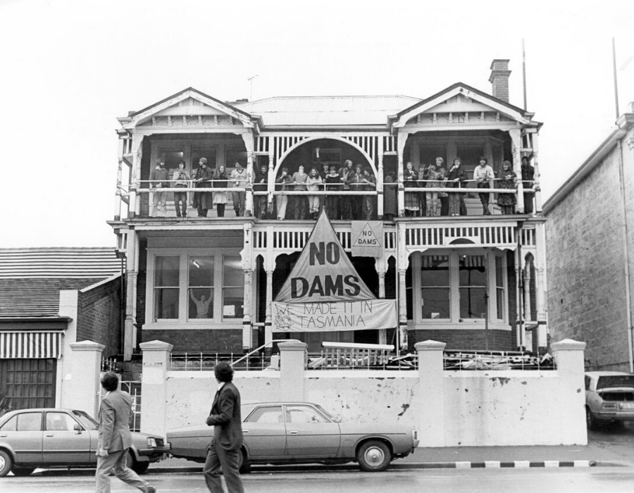 1983: Celebrations at the Wilderness Society's headquarters in Hobart after the High Court win for the Franklin River. Image: The Examiner.